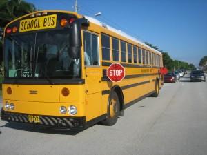 School bus with retread tires